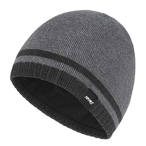 Bodvera Mens Winter Beanie Hat Warm Knit Cuffed Plain Toboggan Ski Skull Cap (Grey)