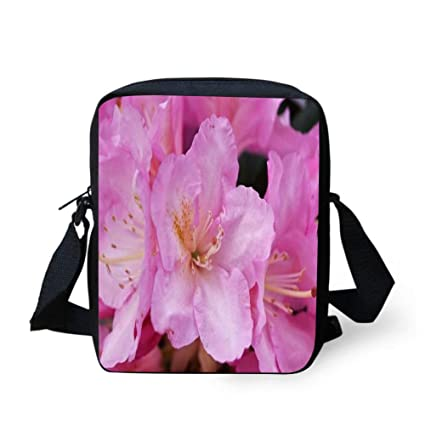 ec0dd022d9bf Amazon.com: WEKJNskeee Pink Flowers Rhododendron Custom Crossbody ...