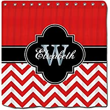 YYT Shower Curtain Red Wht Lg Chevron Black 1Icbr Name Monogram Shower Curtain