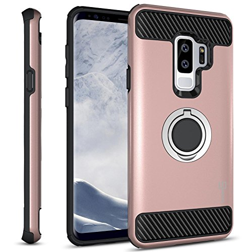CoverON Galaxy S9 Plus Ring Case, RingCase Series Protective Hybrid Phone Cover with Grip Ring and Carbon Fiber Trim for Samsung Galaxy S9 Plus - Rose Gold