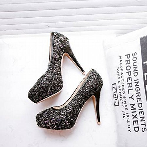 Charm Foot Womens Sexy Sequins High Heel Fashion Pumps Shoes Black xALBl