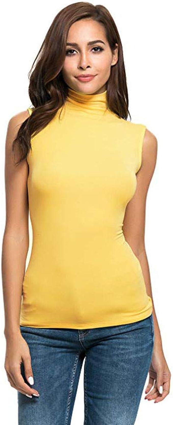 MERICAL Camisa Blusa Superior para Mujer sin Mangas sólido Slim Fit Cuello Alto Camiseta: Amazon.es: Ropa y accesorios