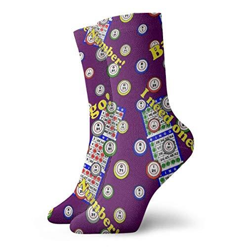 Unisex Fun Dress Socks - Colorful Funky Socks - Bingo Dots Purple Socks]()