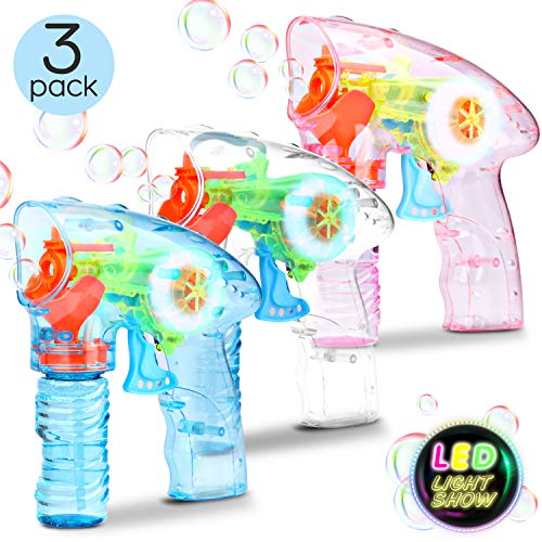 3 Bubble Gun Shooter Bubble Blaster - Toy Bubble Blower Machine for Toddlers, Kids, Parties Indoor and Outdoor with LED Flashing Lights, Sound-Free, No Batteries Needed ( 6 Bottles of Bubble Liquid )]()