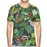 Men's Full Tropical Animal 3D Print T-Shirts Short Sleeve Tops Casual Tee Shirt