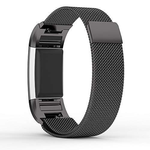 Fitbit Charge 2 Band Pinhen Fitbit Charge 2 Strap Replacement Magnet Lock Milanese Loop Stainless Steel Bracelet Strap Band for Fitbit Charge 2