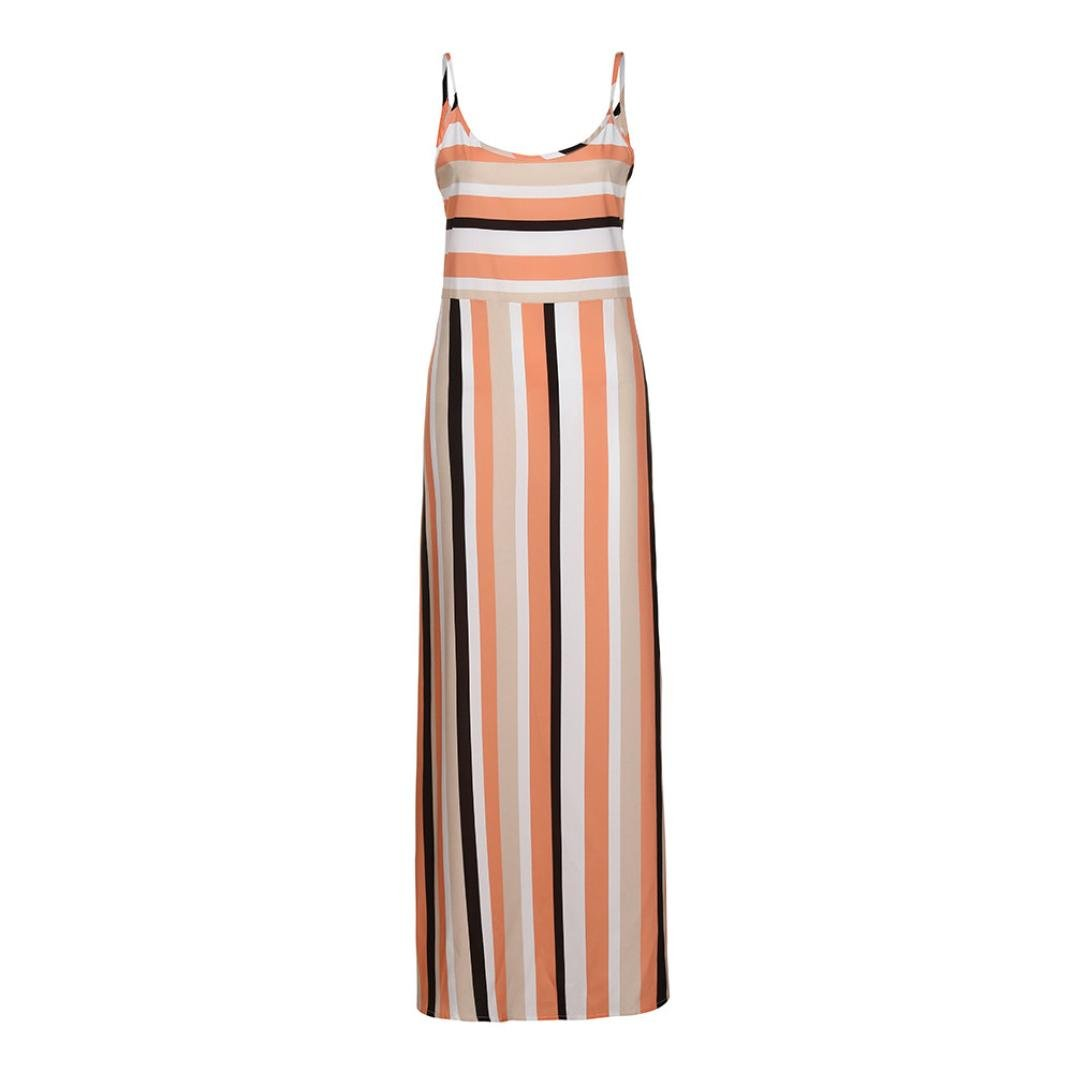 Nikuya Women Fashion Sexy Summer Striped Print Long Evening Party Dress Beach Dress Sundress (Multicolor, M) by Nikuya Top