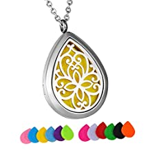 HooAMI Butterfly Flower Aromatherapy Essential Oil Diffuser Necklace Waterdrop Locket Pendant