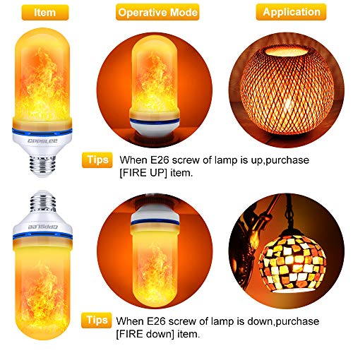 CPPSLEE Led Flame Effect Light Bulb, 4 Modes Flame Lights Bulbs, E26 Base Fire Light Bulbs with Gravity Sensor, Valentine Decorations Flickering Light Bulb for Indoor and Outdoor