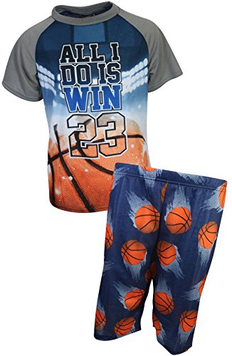 Basketball Boys Pajamas - MAC HENRY Boys Sublimation Pajama Short Set, Blue Basketball, Size 12/14