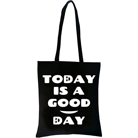PREMYO Bolsa de la Compra Reutilizable Tela Bolso Tote Shopping para Mujer con Asas Largas Impresión Good Day Práctico Cómodo Robusto Algodón Negro