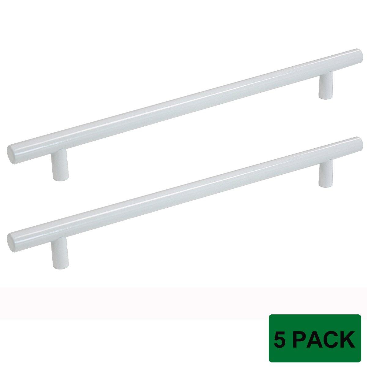 Probrico Modern Cabinet Hardware Dresser Cupboard Handle Pull White Kitchen Cabinet T Bar Knobs Stainless Steel- 12mm Diameter - 8-3/4 Hole Spacing - 5 Pack