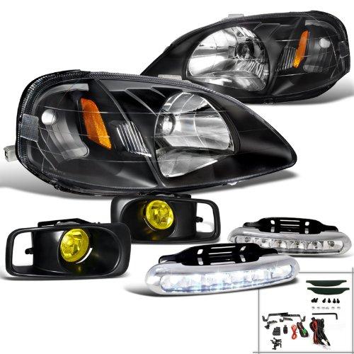 Honda Civic Coupe Sedan Black Headlight+Yellow Fog Lamp+LED White DRL