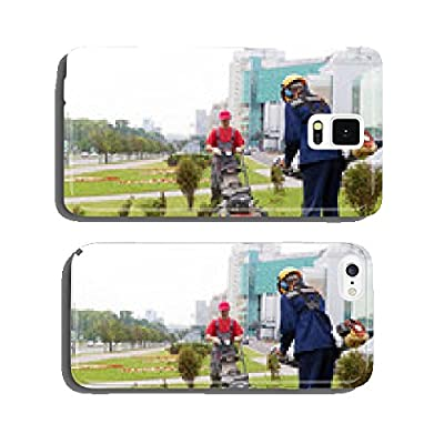 City landscapers mowing lawn with gas trimmer and lawnmower cell phone cover case iPhone5