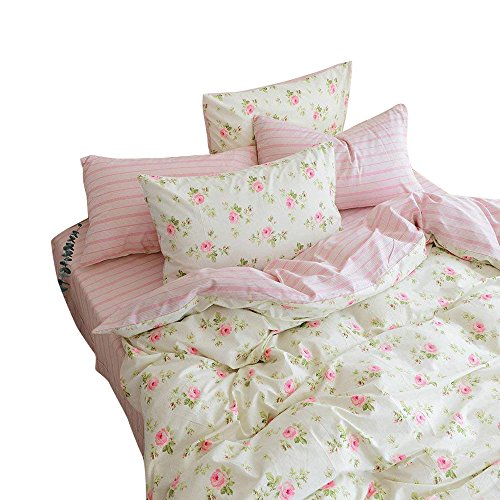 AMWAN Pink Floral Flower Printed Bedding Set Cotton Reversible Kids Girls Duvet Cover Set Queen 3 Piece Spring Summer Bedding Collection Striped Duvet Cover and Pillowcases for Teens ()