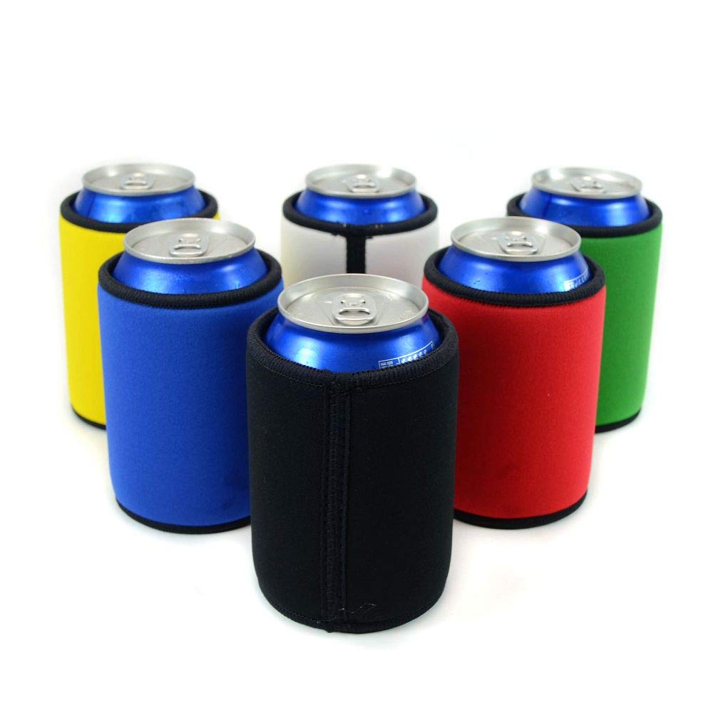 Insulated Beer Can Cover Sleeve Cooler,Neoprene with Stitched Fabric Edges (All Color 6-Pack)