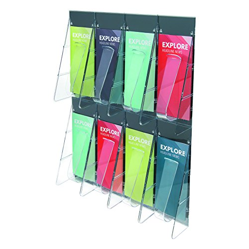Deflecto 56201 Stand tall one-piece literature rack for leaflets, 8 pockets, clear