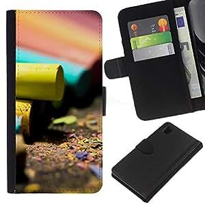 Sony Xperia Z1 L39 C6902 C6903 C6906 C6916 C6943 , la tarjeta de Crédito Slots PU Funda de cuero Monedero caso cubierta de piel ( Artwork Pencil Colorful Design Art Yellow)