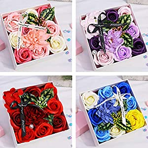 Ouniman Handmade Soap Flowers Gift Box Creative Artificial Rose Gift for Anniversary/Birthday/Wedding/Valentine's Day/Mother's Day 89