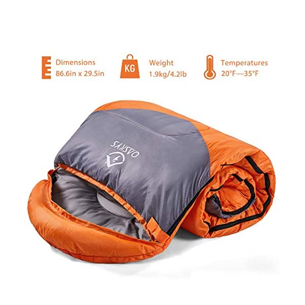 oaskys Camping Sleeping Bag - All Season Warm & Cool Weather - Summer, Spring, Fall, Winter, Lightweight, Waterproof for Adults & Kids - Camping Gear Equipment, Traveling, and Outdoors 4