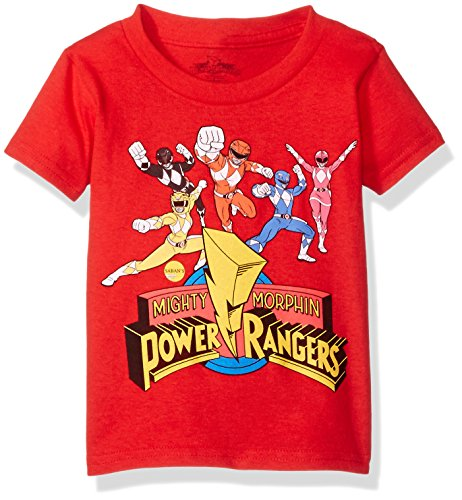 Power Rangers Boys' Toddler Short Sleeve T-Shirt, Red, 5T -