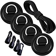 YYANYAN D-Ring Patch Heavy Duty Bungee Deck Rigging Kit,with 4 Pieces Stainless Steel D Ring Patch 4 pcs Hooks