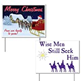 Merry Christmas Religious Yard Sign Set of 2 Wise Men Still Seek Him(2 Different Signs) - Yard Stakes Included