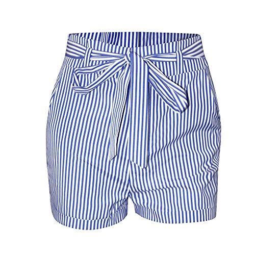 Vita a a Donne Alta Estivo Pants Righe Casual Moda Pantaloncini Bende Shorts Spiaggia da Hots Pants Navy con Blu w40xY4Pq
