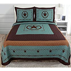 3-piece Western Lone Star Barb Wire Cabin / Lodge Quilt Bedspread Coverlet Set Turquoise (Queen)