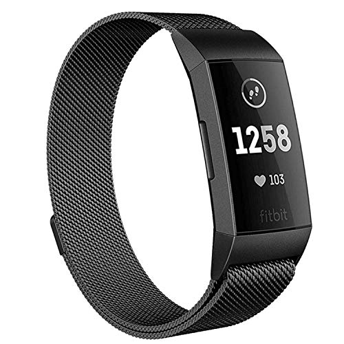 Deyo Milanese Bands Compatible Fitbit Charge 3/Charge 3 SE Women Men Advanced Fitness Tracker Stainless Steel Metal Replacement Accessories Strap Wristbands Small Large (Black, Small)