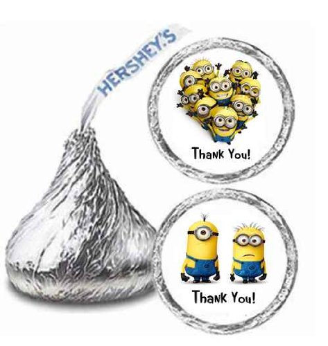 216 Despicable Me Minnions Party Hershey Kisses Stickers Thank You Party Favors
