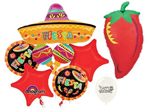 Mexican Spanish Fiesta Sombrero Chili Pepper Party Decorations Balloon Bundle -