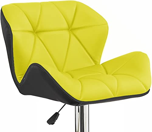Set of 4 Spyder Contemporary Adjustable Barstool - Black Yellow