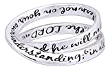 "Silver Plated Double Mobius ""Proverbs 3:5-6"" Ring (9)"