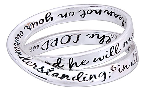 """Silver Plated Double Mobius """"Proverbs 3:5-6"""" Ring (9)"""