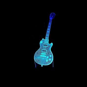 Lozse 3D Luces de la Noche, Guitarra 3D llevó Toque Noche la luz de Siete Colores ...