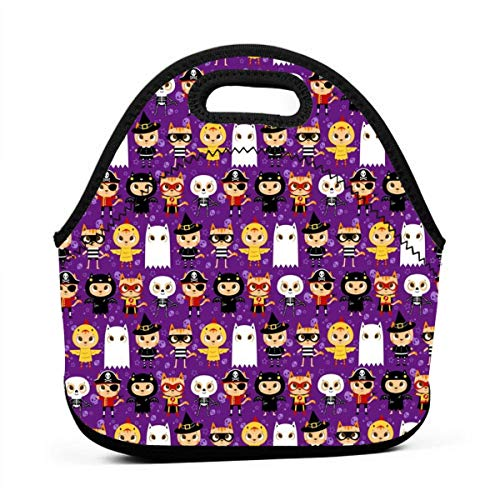 Trick Or Treat! Halloween Cat In Costume Ghost Neoprene Lunch Bag with Cutlery Case for Thermal Thick Lunch Tote Bag for Adults,Kids]()