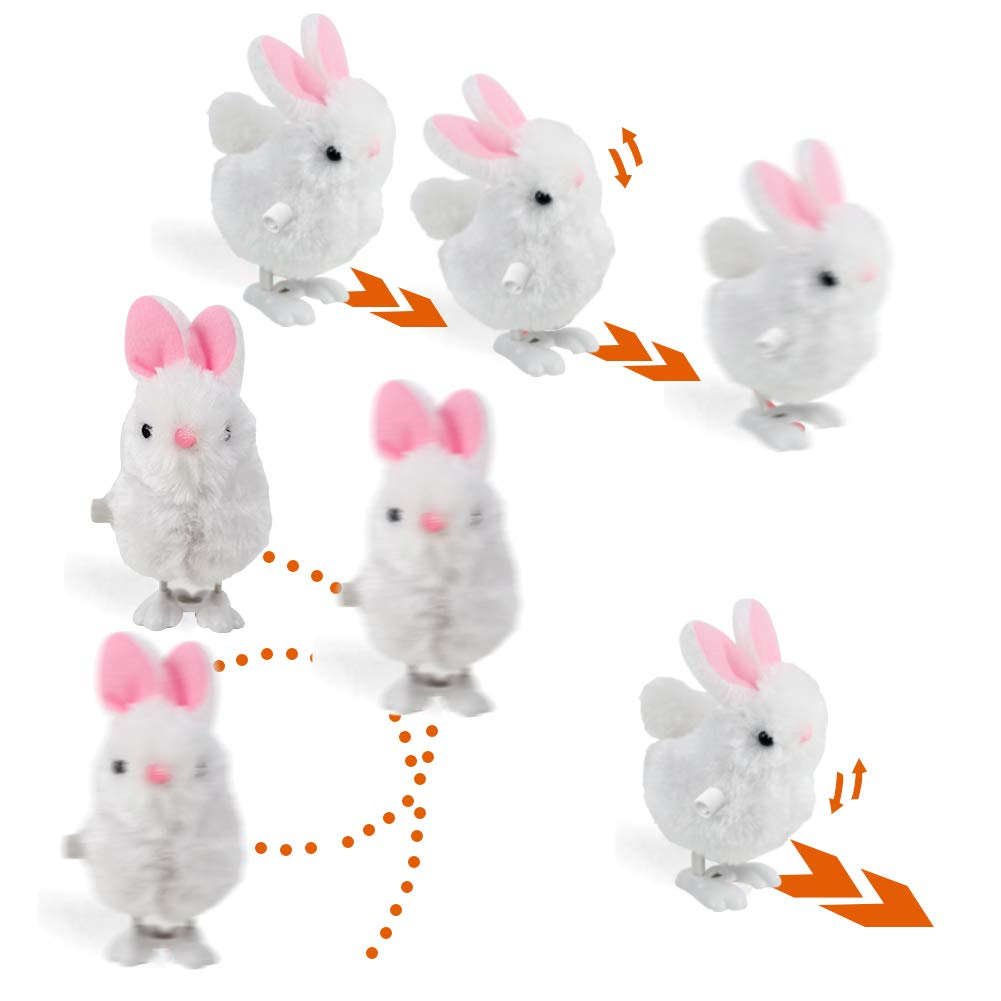 3 otters Wind Up Toy, Easter Toy Wind-Up Jumping Rabbit Plush Rabbits Toys Novelty Toys for Party Favors , White and Pink, 12 PCS