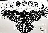 5 x 7 Black Ink Print - Crow Moon Phases - Original Handcrafted Linoleum Cut Print by Philip Crow