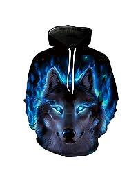POREOEY Blue Flame Wolf Hooded Sweatshirt Neutral Hoodies