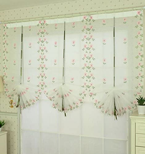 PANDA SUPERSTORE Georgeous Pink Daisy Window Curtain Embroidery Roman Shade Floral Curtain