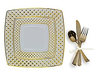 Tiger Chef 200-Piece Gold Plastic Wedding Party Dinnerware Plates with Silverware Set  sc 1 st  Amazon.com & Amazon.com: Tiger Chef 200-Piece Gold Plastic Wedding Party ...