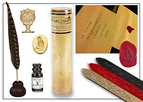 Harry Potter Quill & Ink Wizards Writing Bundle with Parchment Paper & Owl Sealing Wax Seal Stamp