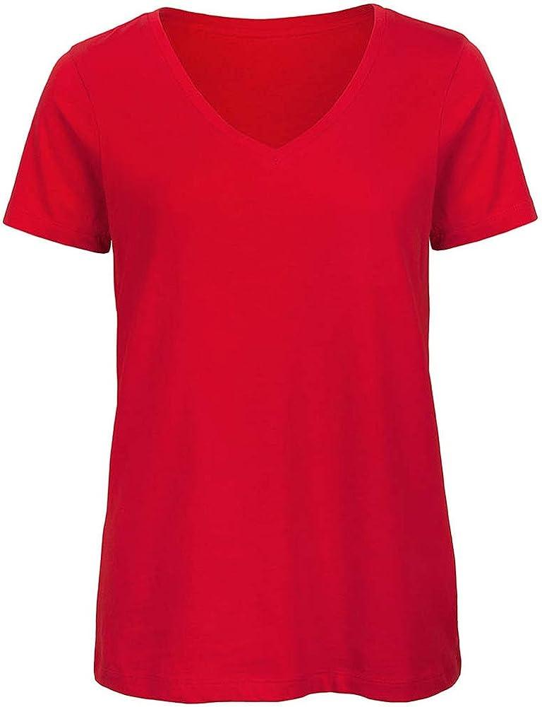 B/&C WOMEN/'S ORGANIC COTTON T-SHIRT CREW NECK SHORT SLEEVE TOP SUMMER TEE PLAIN