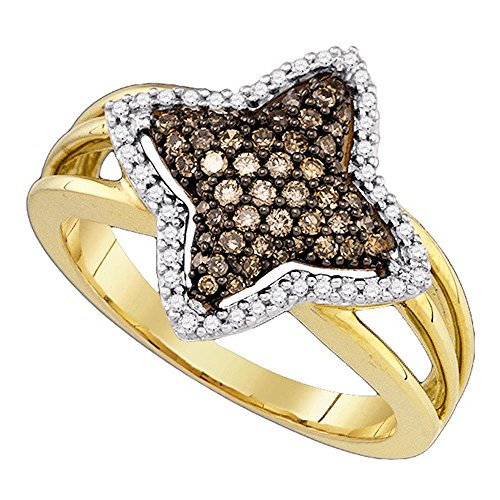 (Sonia Jewels Size 7-10k Yellow Gold Chocolate Brown Diamond Star-Shape Fancy Cluster Fine Ring 3/8 Cttw)