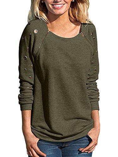 Sophieer Girl's Chic Winter Stitched Diagonal Zipper Sweatshirt Shirt Amy Green - Shipping Usps Delays