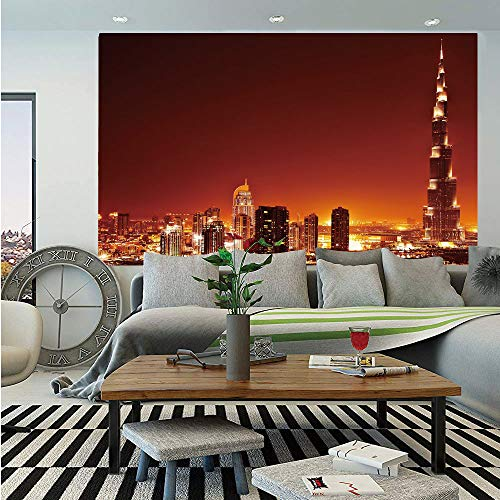 Landscape Huge Photo Wall Mural,Arabic Dubai Downtown with Cityscape Skyscrapers Sunset Middle East City Photo,Self-Adhesive Large Wallpaper for Home Decor 100x144 inches,Multicolor
