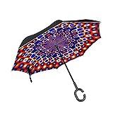 RYUIFI Double Layer Inverted Digital Art Red Blue Design Umbrellas Reverse Folding Umbrella Windproof Uv Protection Big Straight Umbrella for Car Rain Outdoor with C-Shaped Handle
