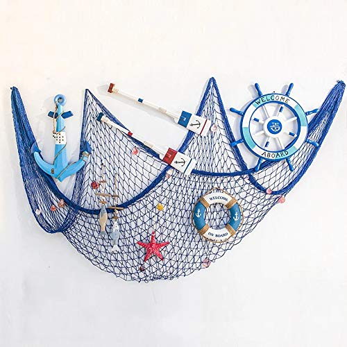 (IRKZ Decorative Fish Net Nautical Beach Fishing Netting Mediterranean Style Party Wall Hanging Decor for Dorm Bedroom)