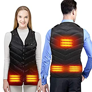 KROCEUS Heated Vest Jacket for Men and Women, Electric Body Warmer Gilet with 3 Temperature USB Charging Heating… 4